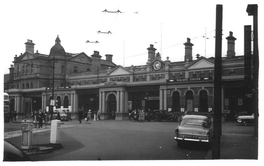 Exterion of Derby Midland Station 1957