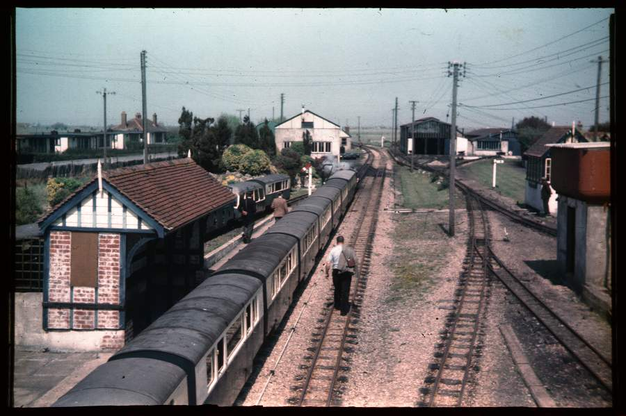 New Romney Station from footbridge 1956